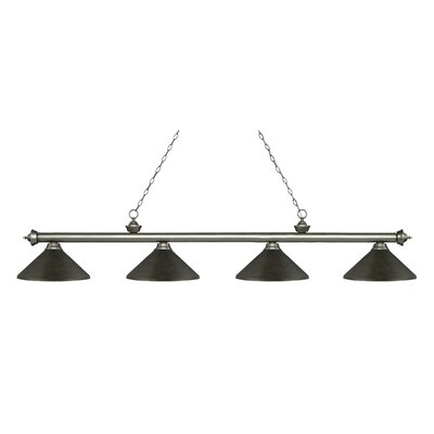 Zephyr 4-Light Cone Metal Shade Billiard Light Finish: Antique Silver, Shade Color: Golden Bronze