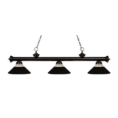 Zephyr 3-Light Incandescent Billiard Light Finish: Bronze, Shade Color: Matte Black