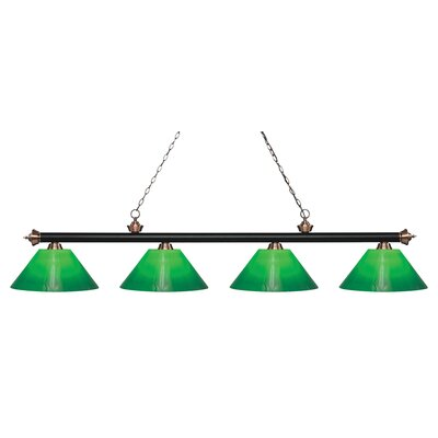 Zephyr Contemporary 4-Light Steel Billiard Light Finish: Matte Black / Antique Copper, Shade Color: Green Cased, Size: 13.75 H x 80.5 W x 14 D