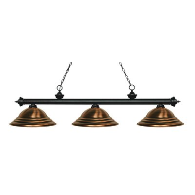 Zephyr 3-Light Cone Shade Billiard Light Finish: Matte Black, Shade Color: Antique Copper