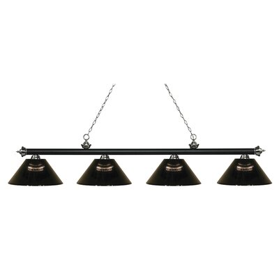 Zephyr 4-Light Adjustable Billiard Light Shade Color: Smoke, Finish: Matte Black / Brushed Nickel