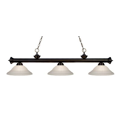 Zephyr Contemporary 3-Light Bell Shade Billiard Light Finish: Bronze