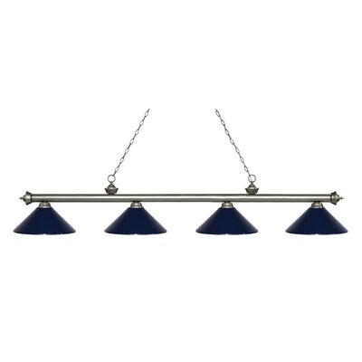 Riviera 4-Light Billiard Light Finish: Antique Silver, Shade Color: Navy Blue