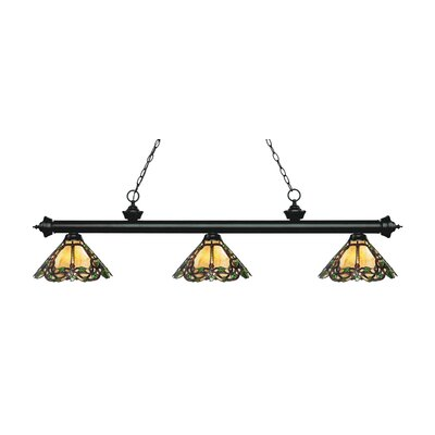 Zephyr Traditional 3-Light Glass Shade Billiard Light Finish: Matte Black
