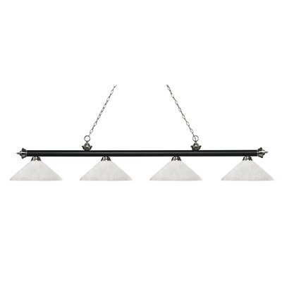 Zephyr 4-Light Cone Glass Shade Billiard Light with Hanging Chain Shade Color: White Linen, Finish: Matte Black / Brushed Nickel