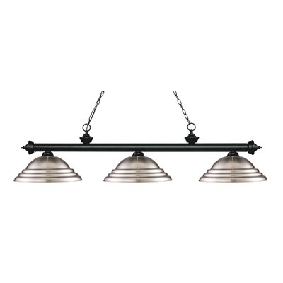 Zephyr 3-Light Cone Shade Billiard Light Finish: Matte Black, Shade Color: Brushed Nickel
