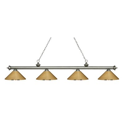 Zephyr 4-Light Cone Metal Shade Billiard Light Finish: Antique Silver, Shade Color: Polished Brass