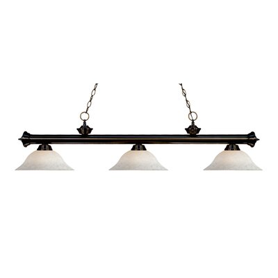 Zephyr Contemporary 3-Light Steel Billiard Light Finish: Bronze, Shade Color: White Mottle