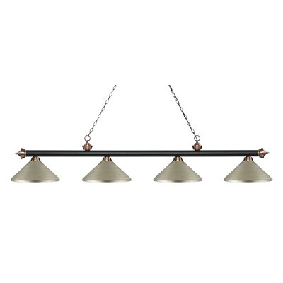 Zephyr 4-Light Cone Metal Shade Billiard Light Finish: Matte Black / Antique Copper, Shade Color: Antique Silver