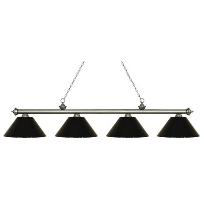 Zephyr 4-Light Cone Shade Billiard Light Shade Color: Black, Finish: Antique Silver