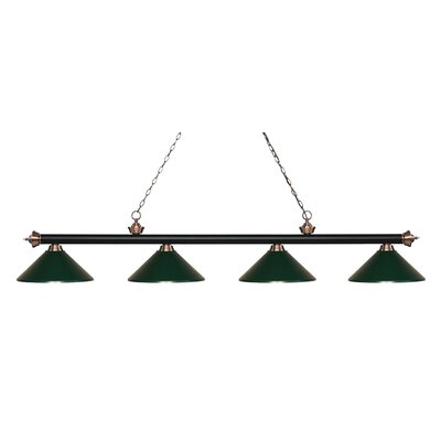 Zephyr 4-Light Cone Metal Shade Billiard Light Shade Color: Dark Green, Finish: Matte Black / Antique Copper