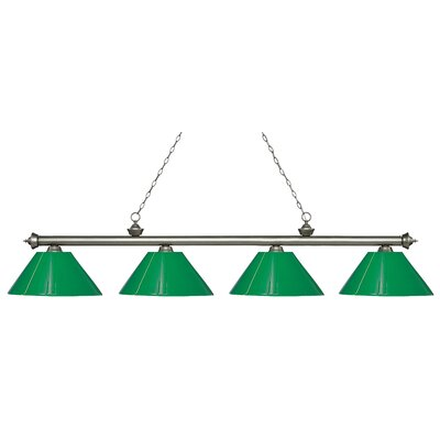 Zephyr 4-Light Cone Shade Billiard Light Finish: Antique Silver, Shade Color: Green