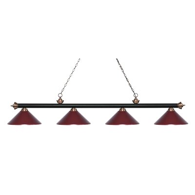 Zephyr 4-Light Cone Metal Shade Billiard Light Shade Color: Dark Wine, Finish: Matte Black / Antique Copper