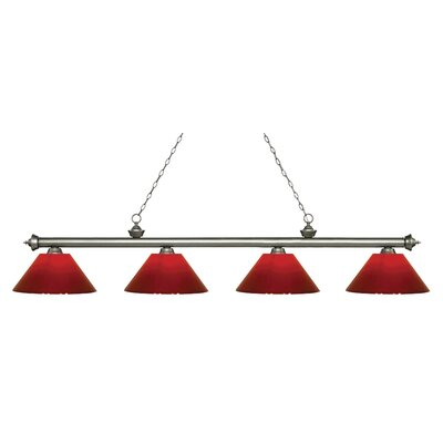 Zephyr 4-Light Cone Shade Billiard Light Finish: Antique Silver, Shade Color: Red