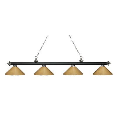 Zephyr 4-Light Cone Metal Shade Billiard Light Finish: Matte Black / Brushed Nickel, Shade Color: Polished Brass