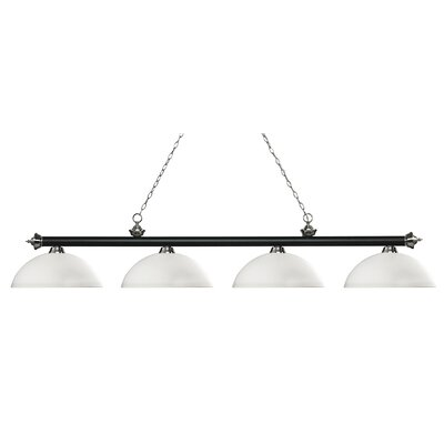 Zephyr 4-Light Bowl Shade Billiard Light Finish: Matte Black / Brushed Nickel, Shade Color: Matte Opal