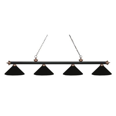 Zephyr 4-Light Cone Metal Shade Billiard Light Finish: Matte Black / Antique Copper, Shade Color: Matte Black