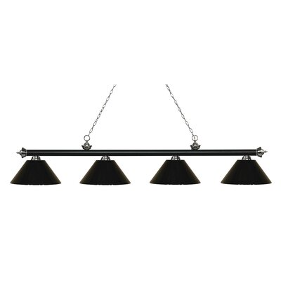 Zephyr 4-Light Cone Shade Billiard Light Shade Color: Black, Finish: Matte Black / Brushed Nickel