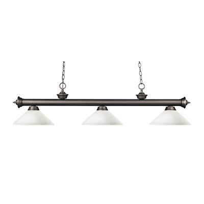 Zephyr Modern 3-Light Bell Shade Billiard Light Finish: Olde Bronze, Shade Color: Matte Opal