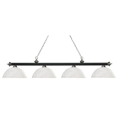 Zephyr 4-Light Bowl Shade Billiard Light Shade Color: White Linen, Finish: Matte Black / Brushed Nickel