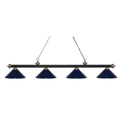 Zephyr 4-Light Cone Metal Shade Billiard Light Shade Color: Navy Blue, Finish: Matte Black / Antique Copper