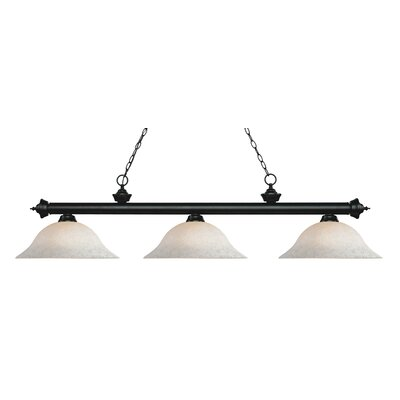 Zephyr Traditional 3-Light Bell Shade Billiard Light Finish: Matte Black, Shade Color: White Mottle, Size: 13.25 H x 59 W x 16 D