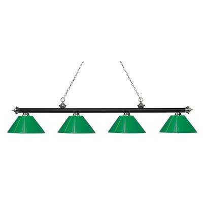 Zephyr 4-Light Cone Shade Billiard Light Shade Color: Green, Finish: Matte Black / Brushed Nickel