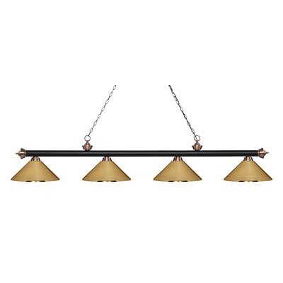 Zephyr 4-Light Cone Metal Shade Billiard Light Shade Color: Polished Brass, Finish: Matte Black / Antique Copper