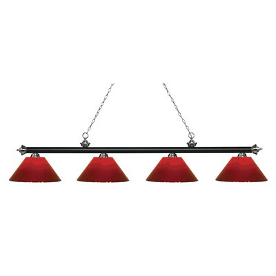 Zephyr 4-Light Cone Shade Billiard Light Shade Color: Red, Finish: Matte Black / Brushed Nickel