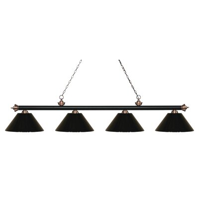 Zephyr 4-Light Cone Shade Billiard Light Finish: Matte Black / Antique Copper, Shade Color: Black