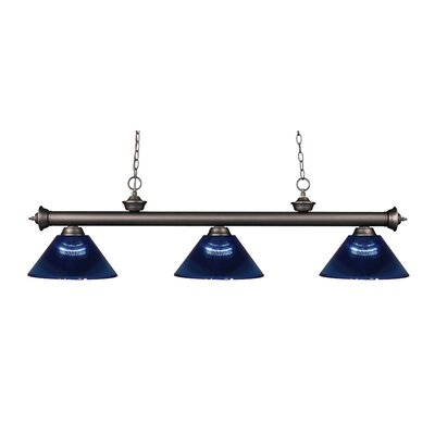 Zephyr Contemporary 3-Light Cone Shade Billiard Light Finish: Olde Bronze, Shade Color: Dark Blue