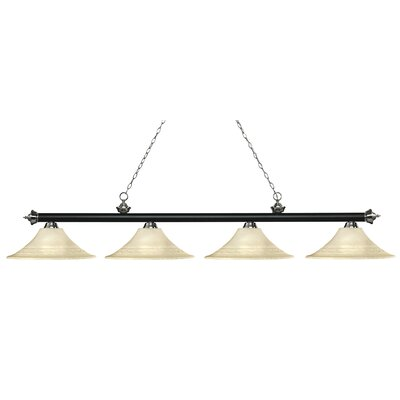 Riviera 4-Light Billiard Light Shade Color: Golden, Finish: Matte Black / Brushed Nickel