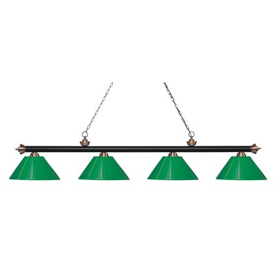 Zephyr 4-Light Cone Shade Billiard Light Finish: Matte Black / Antique Copper, Shade Color: Green