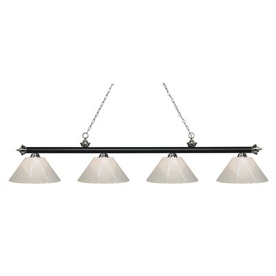 Zephyr 4-Light Cone Shade Billiard Light Finish: Matte Black / Brushed Nickel, Shade Color: White