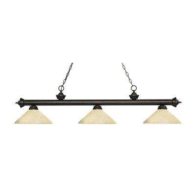 Zephyr 3-Light Billiard Light with Hanging Chain Finish: Golden Bronze, Shade Color: Golden Mottle