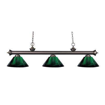 Zephyr Contemporary 3-Light Cone Shade Billiard Light Finish: Olde Bronze, Shade Color: Green