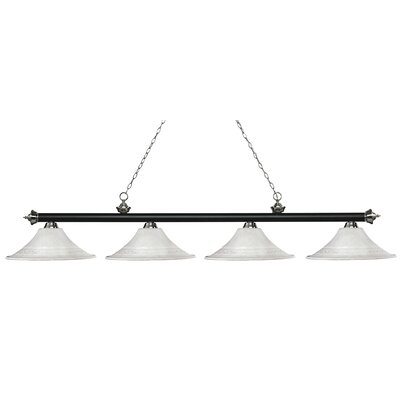Zephyr 4-Light Bell Shade Billiard Light Finish: Matte Black / Brushed Nickel, Shade Color: White