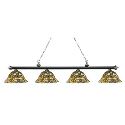 Riviera 4-Light Billiard Light Finish: Matte Black / Brushed Nickel