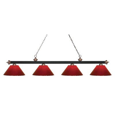 Riviera 4-Light Billiard Light Finish: Matte Black / Antique Copper, Shade Color: Red