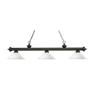 Zephyr 3-Light Billiard Light with Hanging Chain Finish: Golden Bronze, Shade Color: Matte Opal