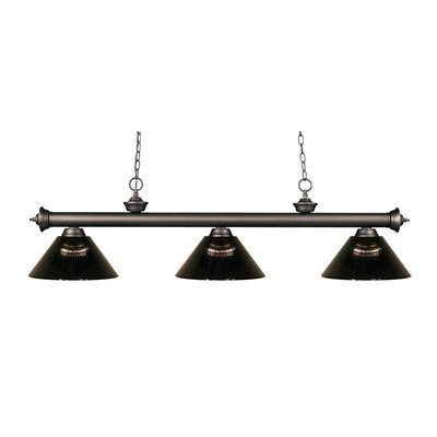 Zephyr Contemporary 3-Light Cone Shade Billiard Light Shade Color: Smoke, Finish: Olde Bronze