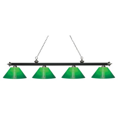 Zephyr Contemporary 4-Light Steel Billiard Light Finish: Matte Black / Brushed Nickel, Shade Color: Green Cased, Size: 13.75 H x 80.5 W x 14 D