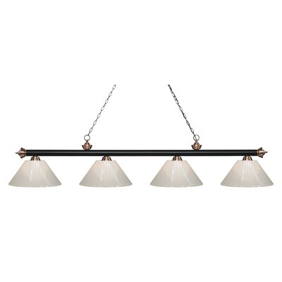 Zephyr 4-Light Cone Shade Billiard Light Finish: Matte Black / Antique Copper, Shade Color: White