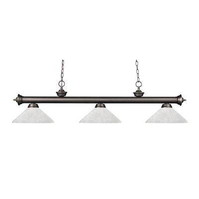Zephyr Modern 3-Light Bell Shade Billiard Light Finish: Olde Bronze, Shade Color: White Linen