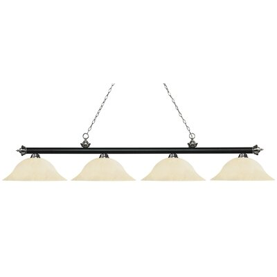 Zephyr Contemporary 4-Light Steel Billiard Light Finish: Matte Black / Brushed Nickel, Shade Color: Golden Mottle, Size: 12.5 H x 82.5 W x 16 D