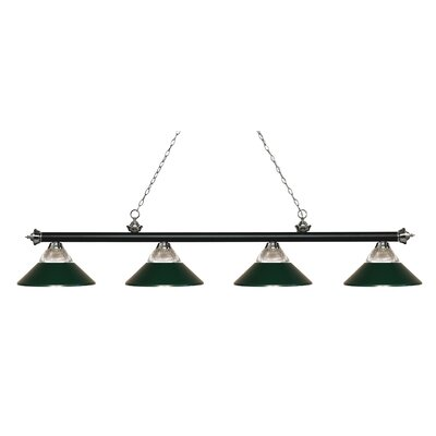 Chapple 4-Light Billiard Light Finish: Clear Ribbed / Dark Green, Shade Color: Clear Ribbed  /  Dark Green