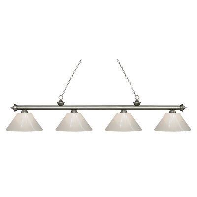 Zephyr 4-Light Cone Shade Billiard Light Shade Color: White, Finish: Antique Silver