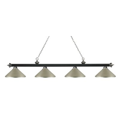 Zephyr 4-Light Cone Metal Shade Billiard Light Finish: Matte Black / Brushed Nickel, Shade Color: Antique Silver