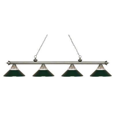 Chapple 4-Light Billiard Light Finish: Antique Silver, Shade Color: Dark Green