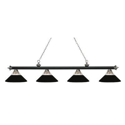 Chapple 4-Light Billiard Light Finish: Clear Ribbed / Matte Black, Shade Color: Clear Ribbed  /  Matte Black